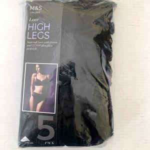 Marks & Spencer 5 black cotton lace panties US 10